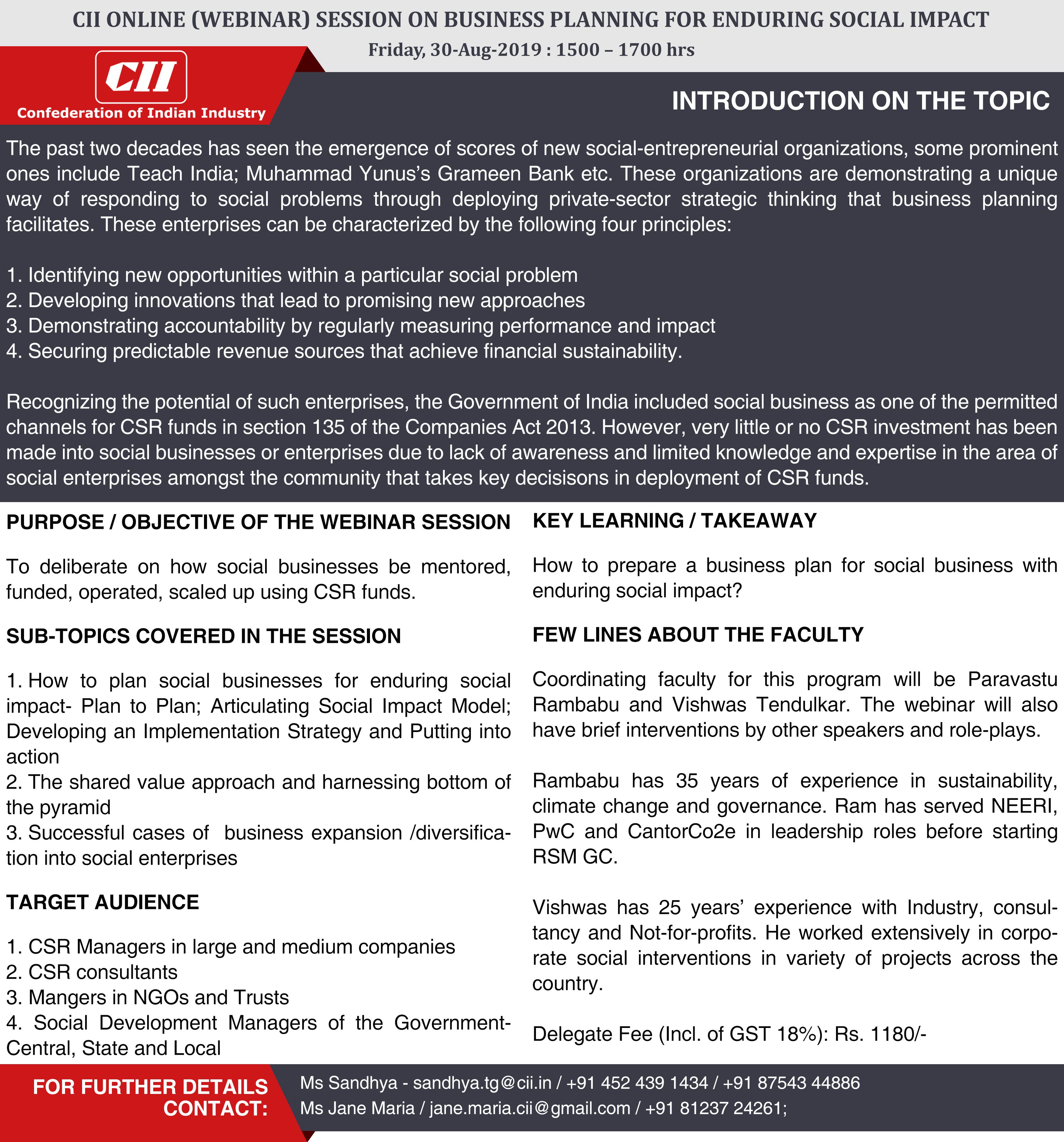 CII Online (Webinar) Session on 'Business Planning for Enduring