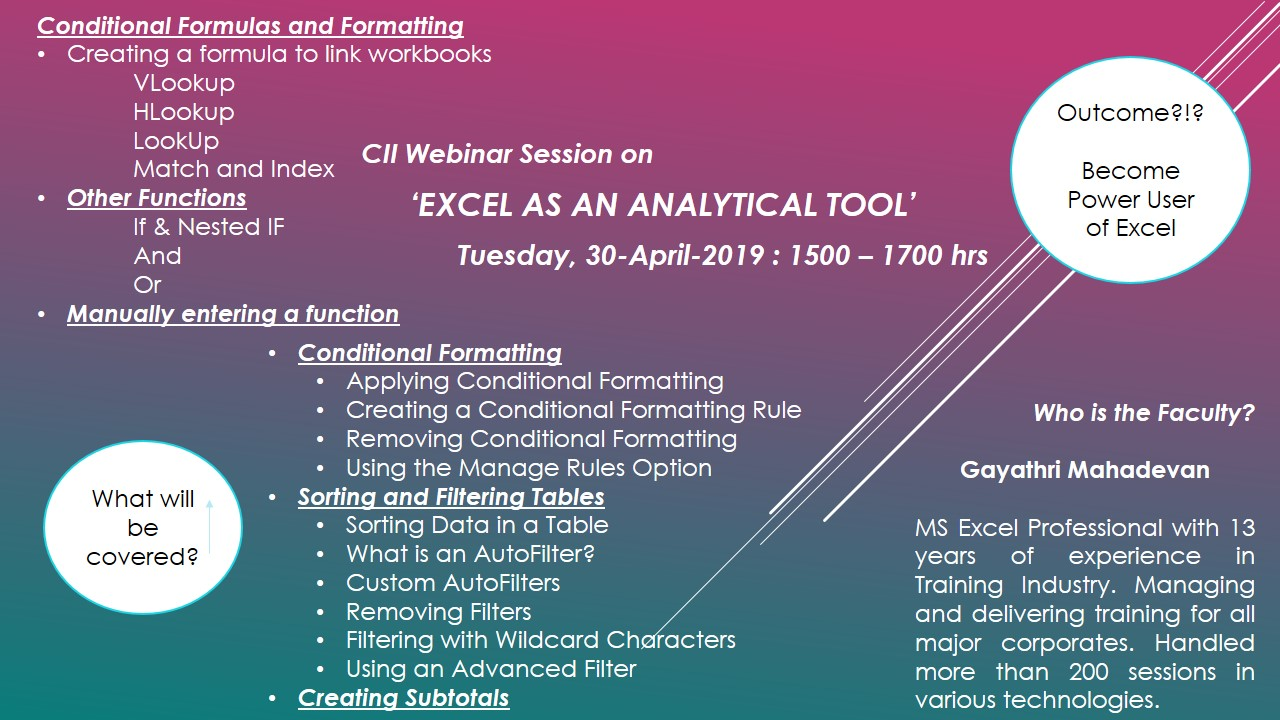 CII Online (Webinar) Session on 'Excel as an Analytical Tool