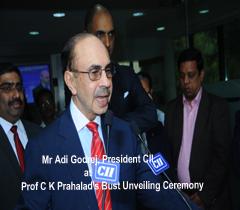 Mr Adi Godrej, President CII at Prof C K Prahalad's Bust Unveiling Ceremony