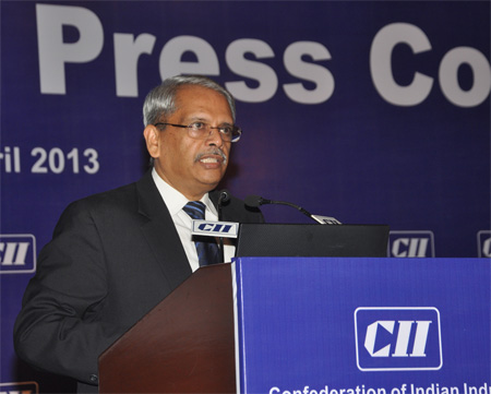 Mr S Gopalakrishnan, President, CII & Co-Founder and Executive Co-Chairman, Infosys Limited addressing the media at his first Press Conference held on 15 April, 2013 at New Delhi.
