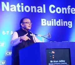 Mr Arun Jaitley, Minister of Finance, Corporate Affairs & Information & Broadcasting addressing at the inaugural session