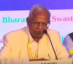 Guest of Honour Dr. R B Singh, Past President, National Academy of Agricultural Sciences addressing at the session on 'Nutritional Security in India-Way Forward'