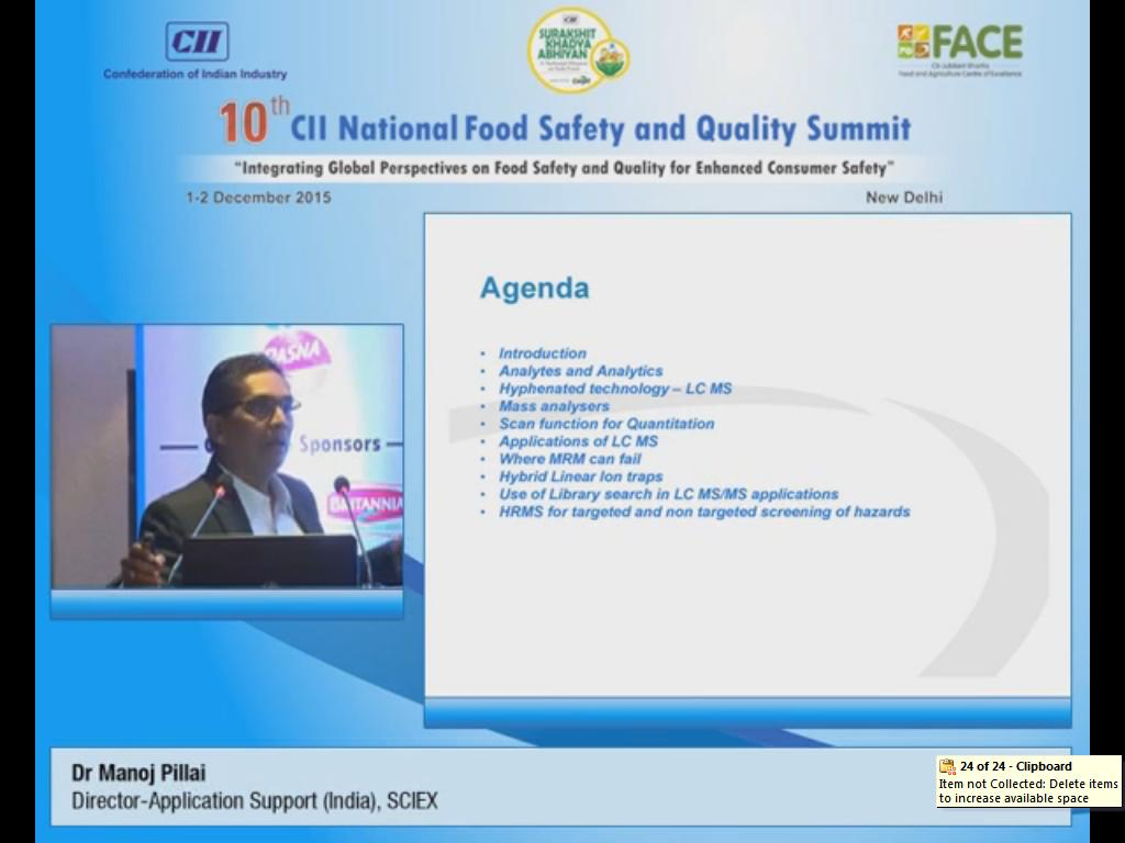Address by Dr Manoj Pillai, Director-Application Support (India), SCIEX