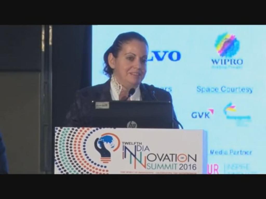 Yael Hashavit, Consul General of Israel, Bangalore speaks on Innovation at the 12th India Innovation Summit 2016