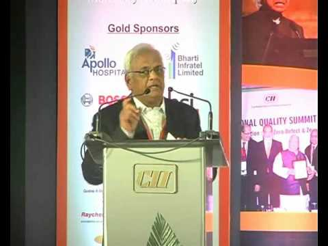 N Kumar, Chairman, CII Institute of Quality, Past President, CII and Vice Chairman, The Sanmar Group speaks on the theme of quality across dimensions