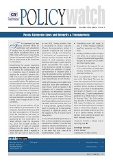 Policy Watch - Focus: Corporate Laws and Integrity & Transparency